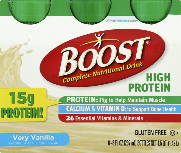 Boost Nutritional Drink, Complete, High Protein, Very Vanilla