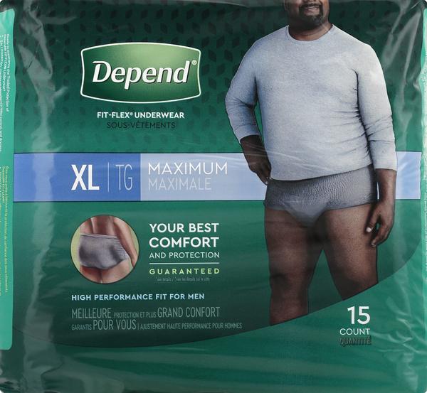 Depend Underwear, Maximum, Extra Large, for Men