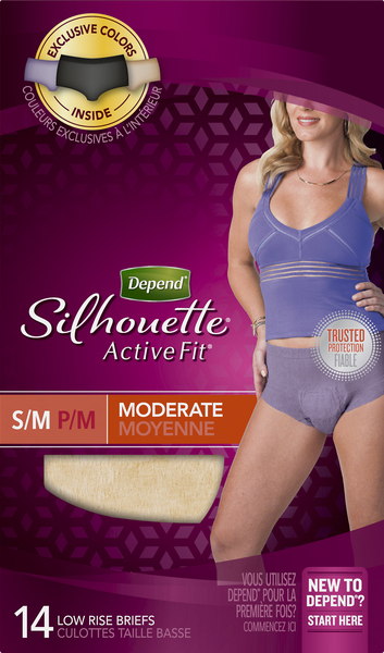 Depend Briefs, Low Rise, Moderate, S/M