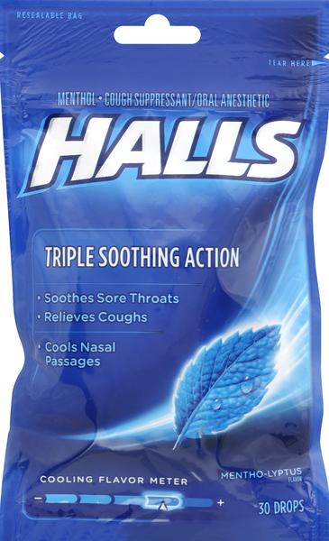 Halls Cough Suppressant/Oral Anesthetic, Menthol, Mentho-lyptus Flavor