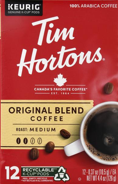 Tim Hortons Coffee, Medium Roast, Original Blend, K-Cup Pods